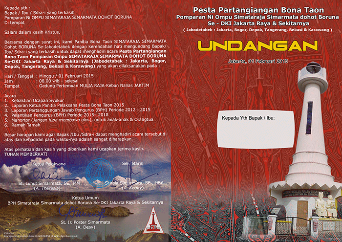 Undangan Pesta Partangiangan Bonataon Simataraja DKI-Jakarta & Sekitarnya